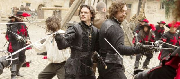 (Left to right) LOGAN LERMAN (white shirt), LUKE EVANS, RAY STEVENSON (back to camera) and MATTHEW MACFADYEN star in THE THREE MUSKETEERS Ph: Rolf Konow, SMPSP © 2011 Constantin Film Produktion GmbH, NEF Productions, S.A.S., and New Legacy Film Ltd. All rights reserved.